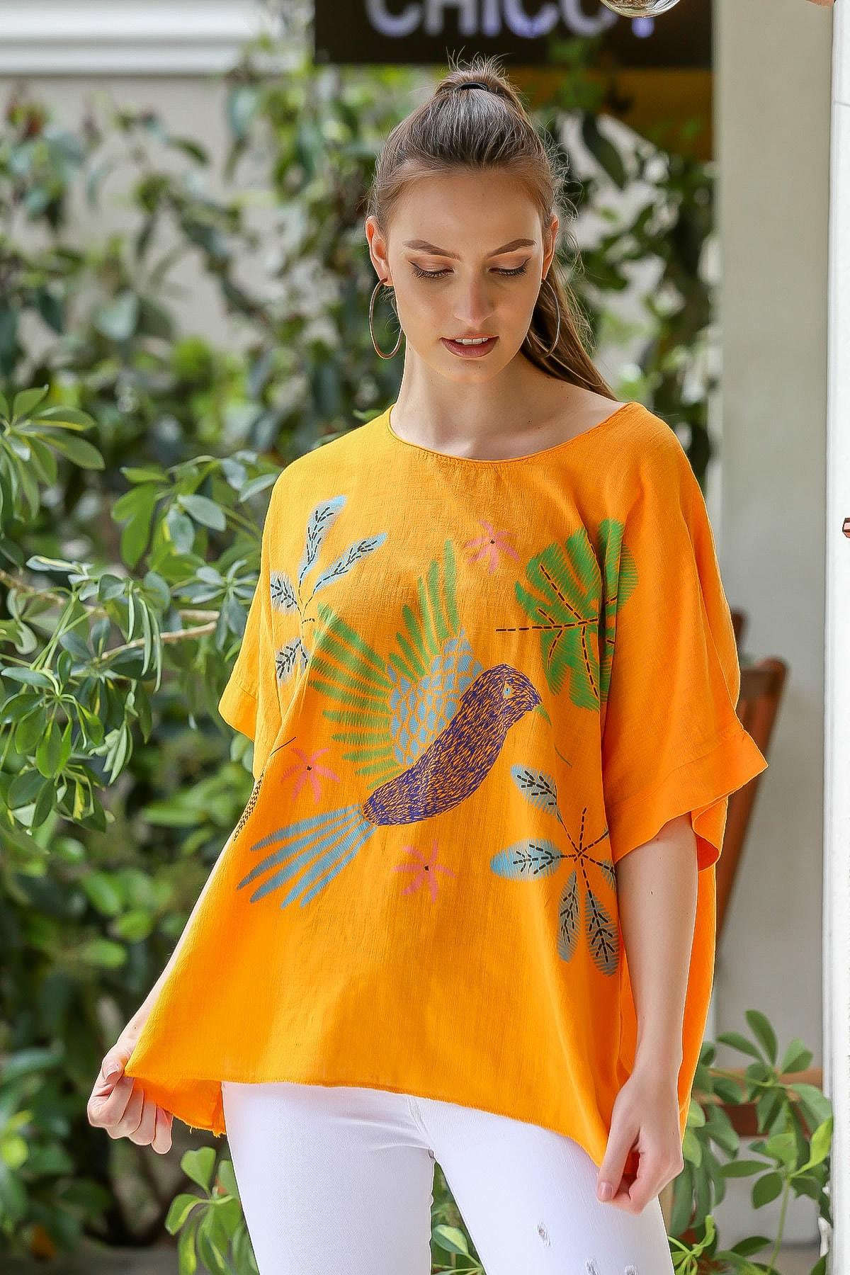 Chiccy Kadın Turuncu  Sıfır Yaka Yalı Çapkını Kuş Desenli Salaş Dokuma Bluz M10010200BL95418 3