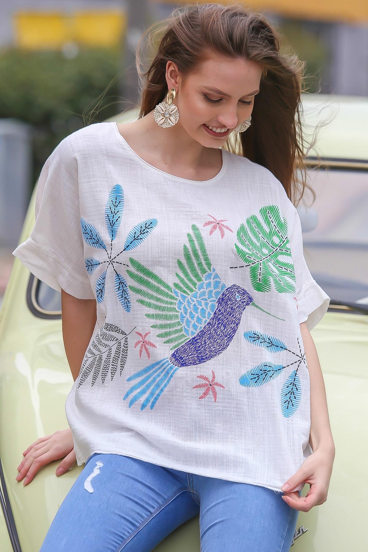 Chiccy Kadın Beyaz Sıfır Yaka Yalı Çapkını Kuş Desenli Salaş Dokuma Bluz M10010200BL95418 0