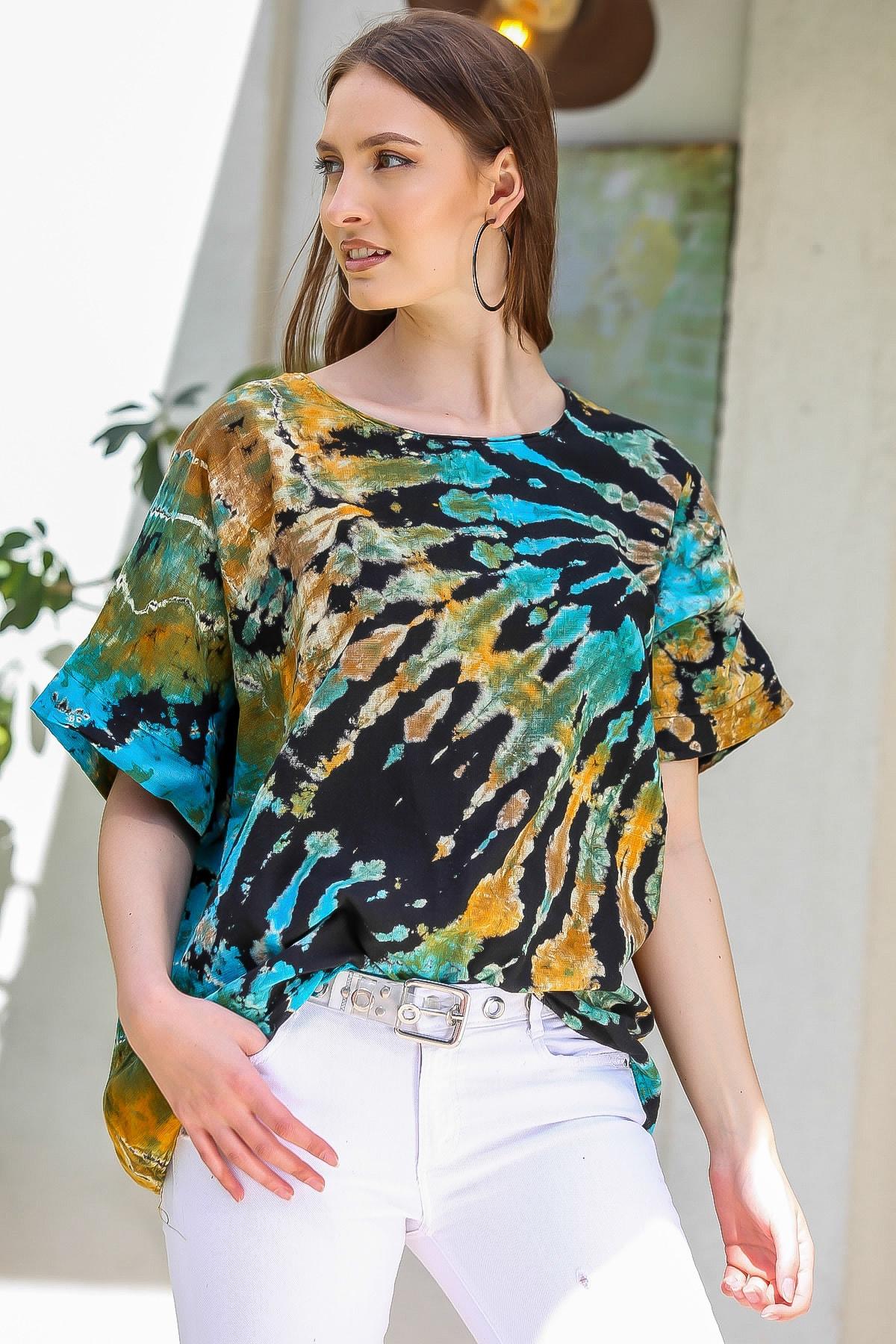 Chiccy Kadın Siyah-Mavi Sıfır Yaka Batik Desenli Dokuma Salaş Bluz M10010200BL95416 1