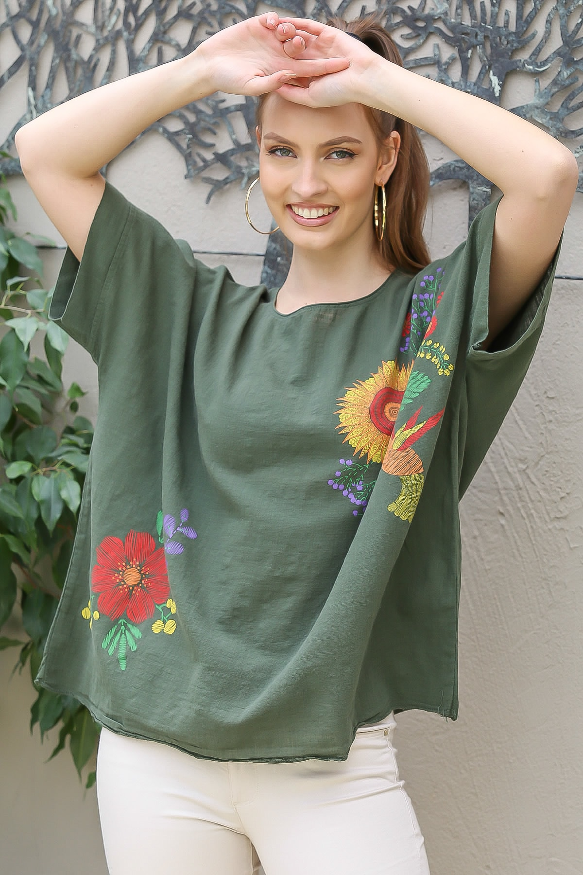 Chiccy Kadın Haki Sıfır Yaka Günebakan Çiçek Desenli Salaş Dokuma Bluz M10010200BL95412 1
