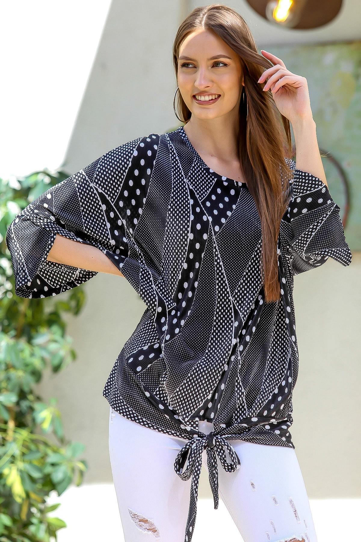 Chiccy Kadın Siyah Pliseli Puantiye Desenli 3/4 Kol Bağlamalı Bluz M10010200BL95402 0