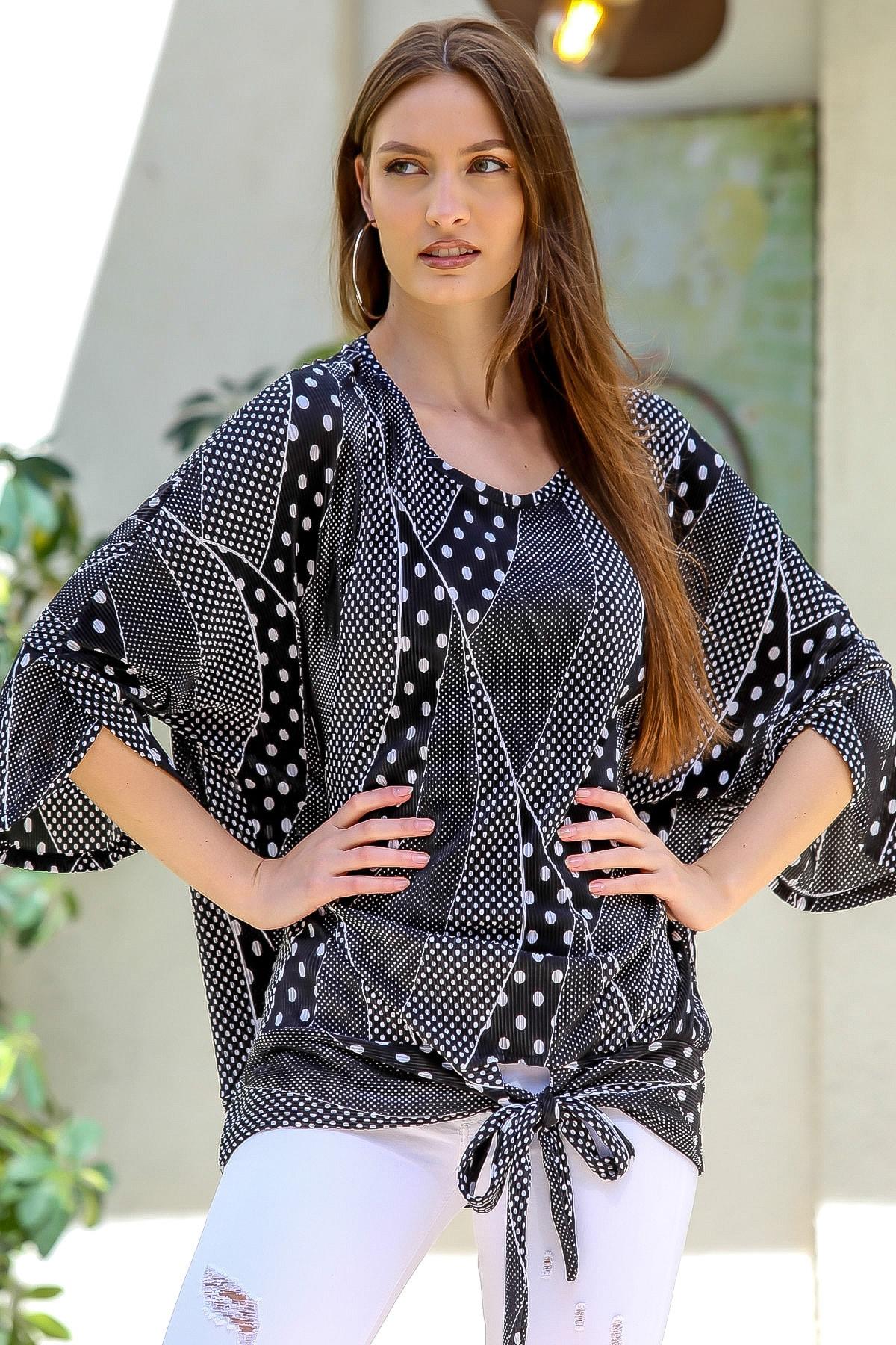 Chiccy Kadın Siyah Pliseli Puantiye Desenli 3/4 Kol Bağlamalı Bluz M10010200BL95402 1