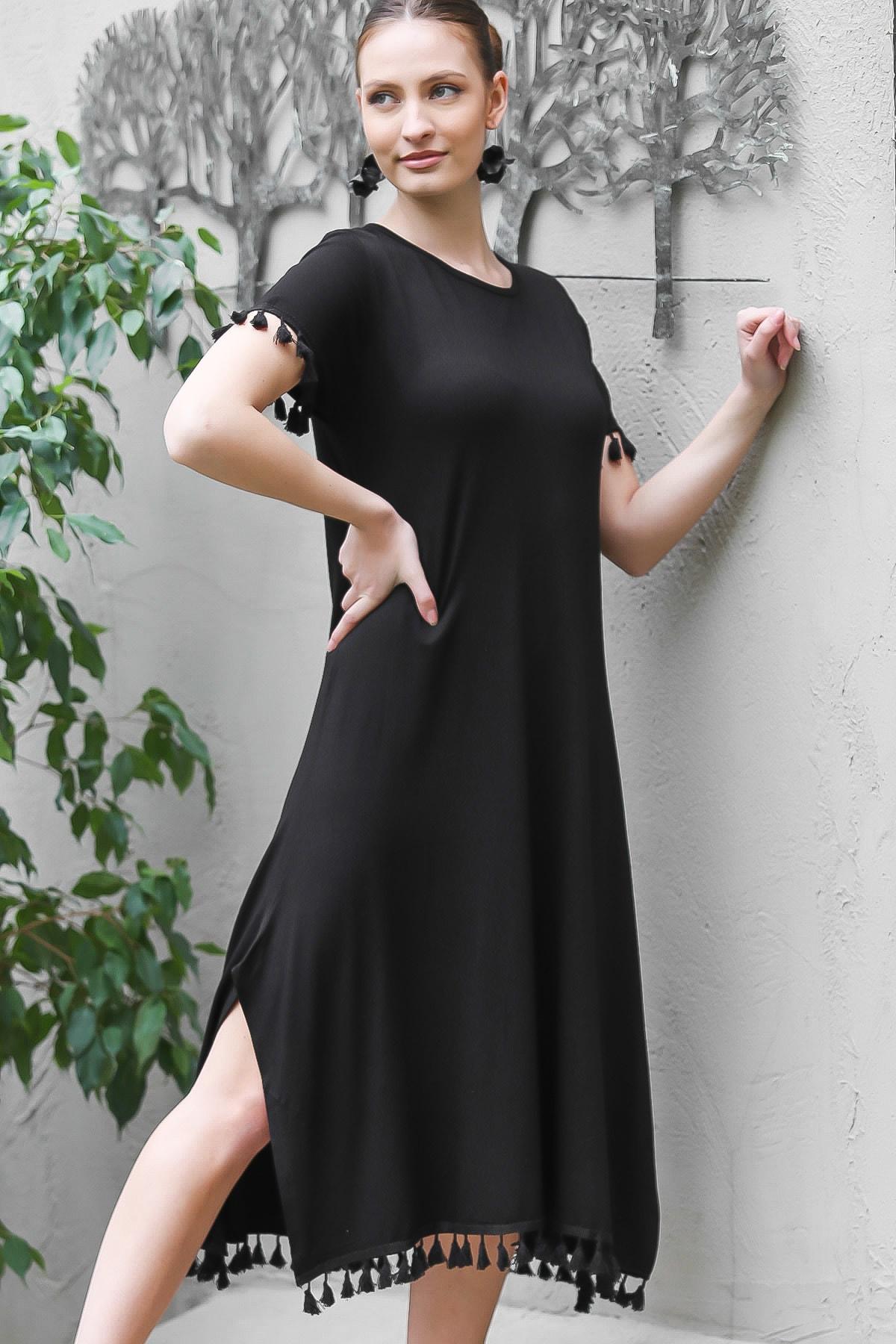 Chiccy Kadın Siyah Sıfır Yaka Kol Ve Etek Ucu Püsküllü Yırtmaçlı Elbise M10160000EL95067 0