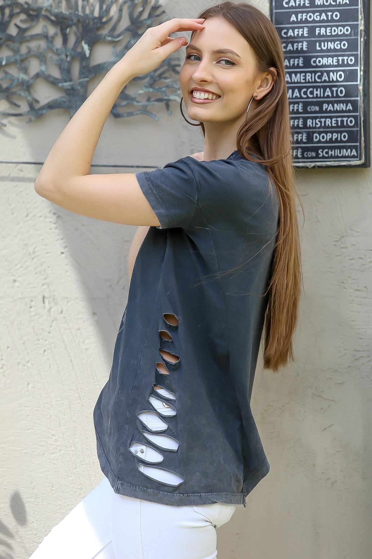 Chiccy Kadın Antrasit Love Kalp Baskılı Lazer Kesimli Asimetrik Yıkamalı T-Shirt M10010300TS98245 3