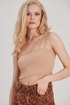 Kadın Bej Tek Omuz Askılı Crop Bluz YL-BL99578 resmi