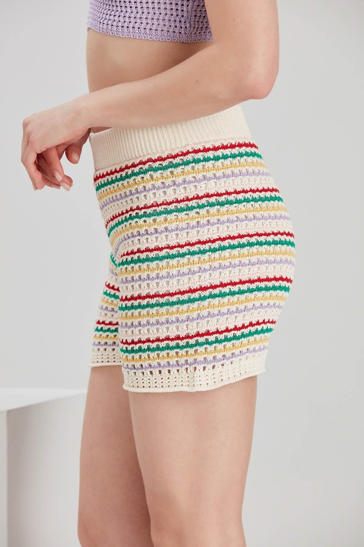 Y-London Kadın Mix Renkli Çizgili Örgü Şort YL-PN99749 2