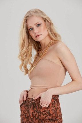 Kadın Bej Tek Omuz Crop Bluz YL-BL99613 resmi
