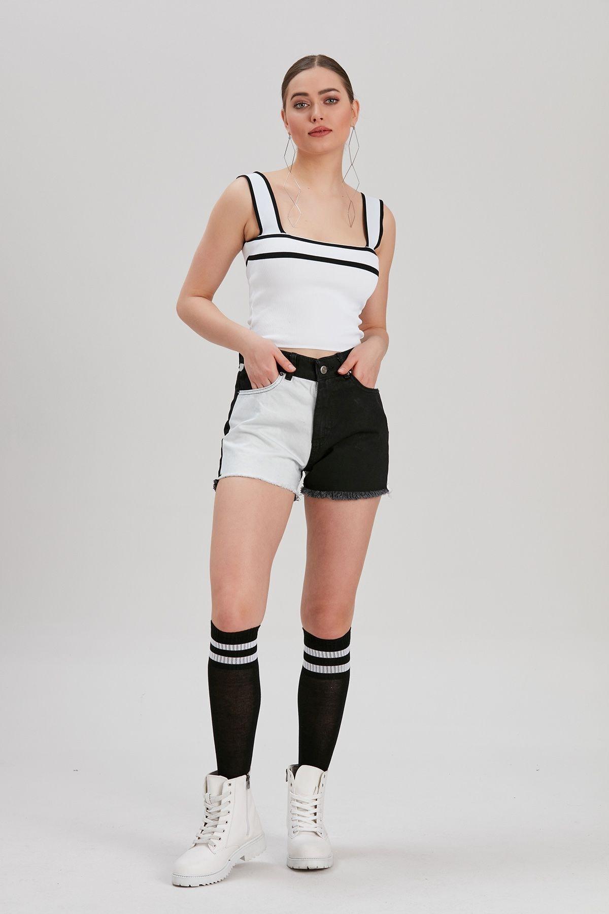Y-London Kadın Siyah-Beyaz Renk Bloklu Kot Şort YL-PN99853 4