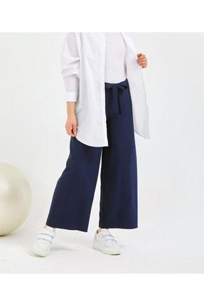 Gentekstil Kadın Lacivert  GenPlus Bel Lastikli Rahat Kesim Pantolon 1