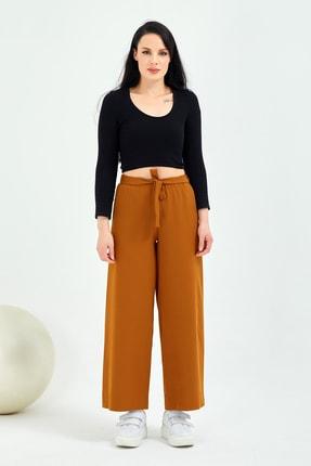 Gentekstil Genplus Kadın Hardal Bel Lastikli Rahat Kesim Pantolon 0