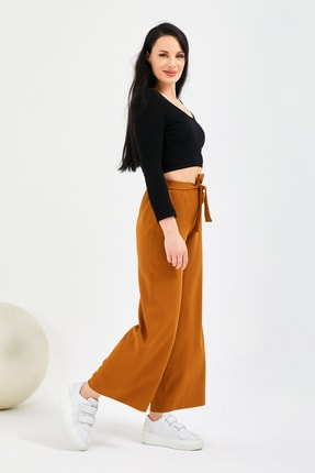 Gentekstil Genplus Kadın Hardal Bel Lastikli Rahat Kesim Pantolon 1