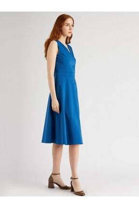 VKM Kadın Mavi V Yaka Rahat Kesim Elbise 1