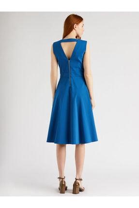 VKM Kadın Mavi V Yaka Rahat Kesim Elbise 2