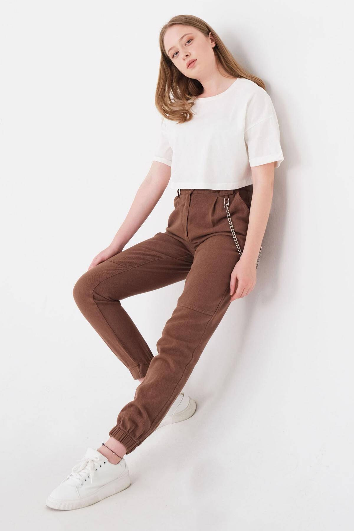 Addax Kadın Kahve Zincir Detaylı Pantolon Pn01-0073 - S11 Adx-0000024102 2