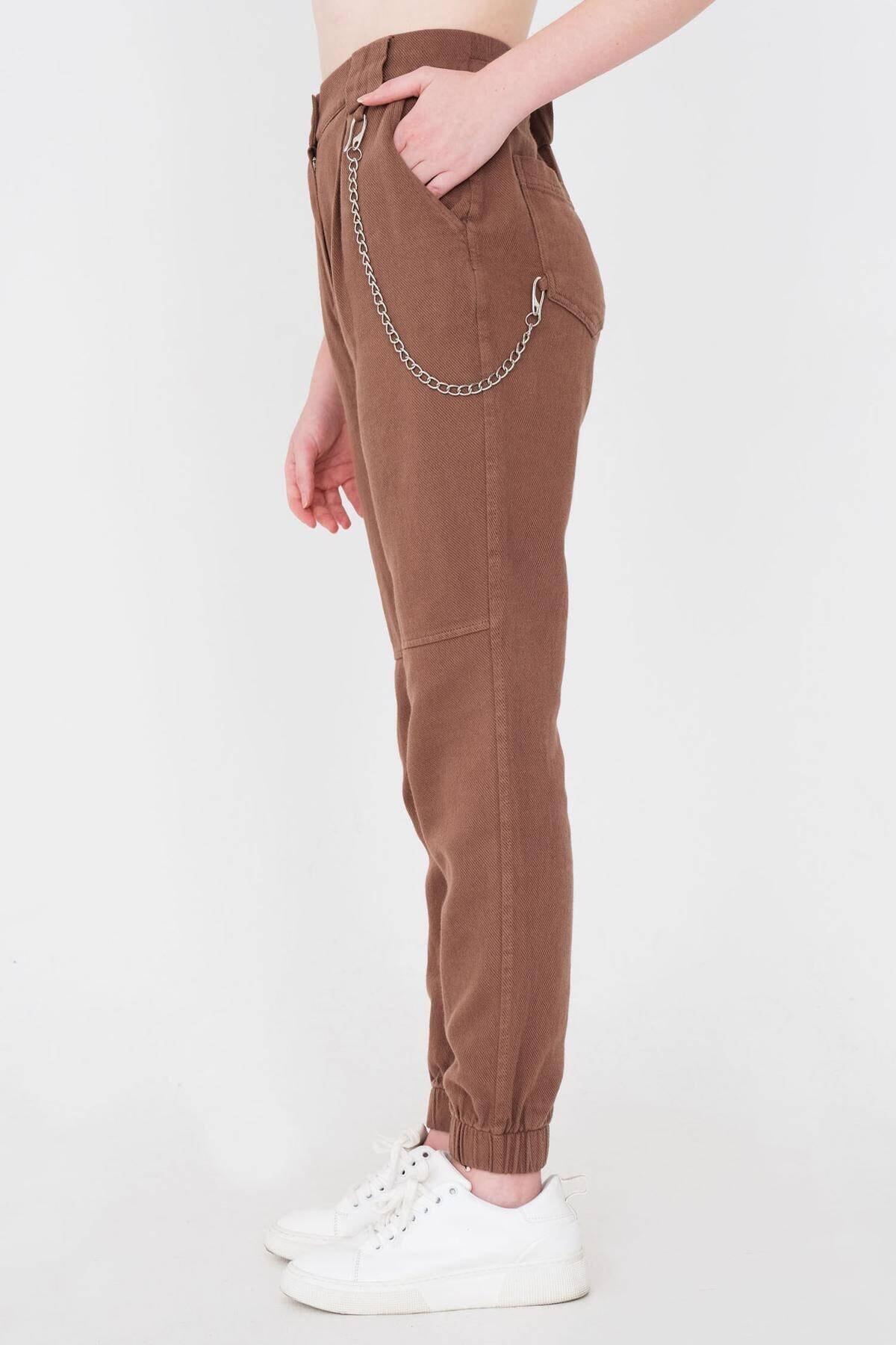 Addax Kadın Kahve Zincir Detaylı Pantolon Pn01-0073 - S11 Adx-0000024102 4