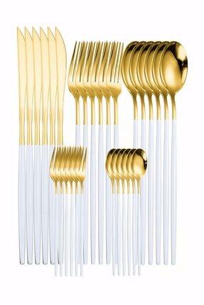 LAPUTA Beyaz Gold 30 Parça Çatal Kaşık Bıçak Takımı 6 Kişilik Takım Ithal Ürün 0