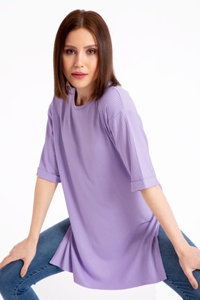 GİYSA Boyfriend Kaşkorse Lila T-shirt 3683 1