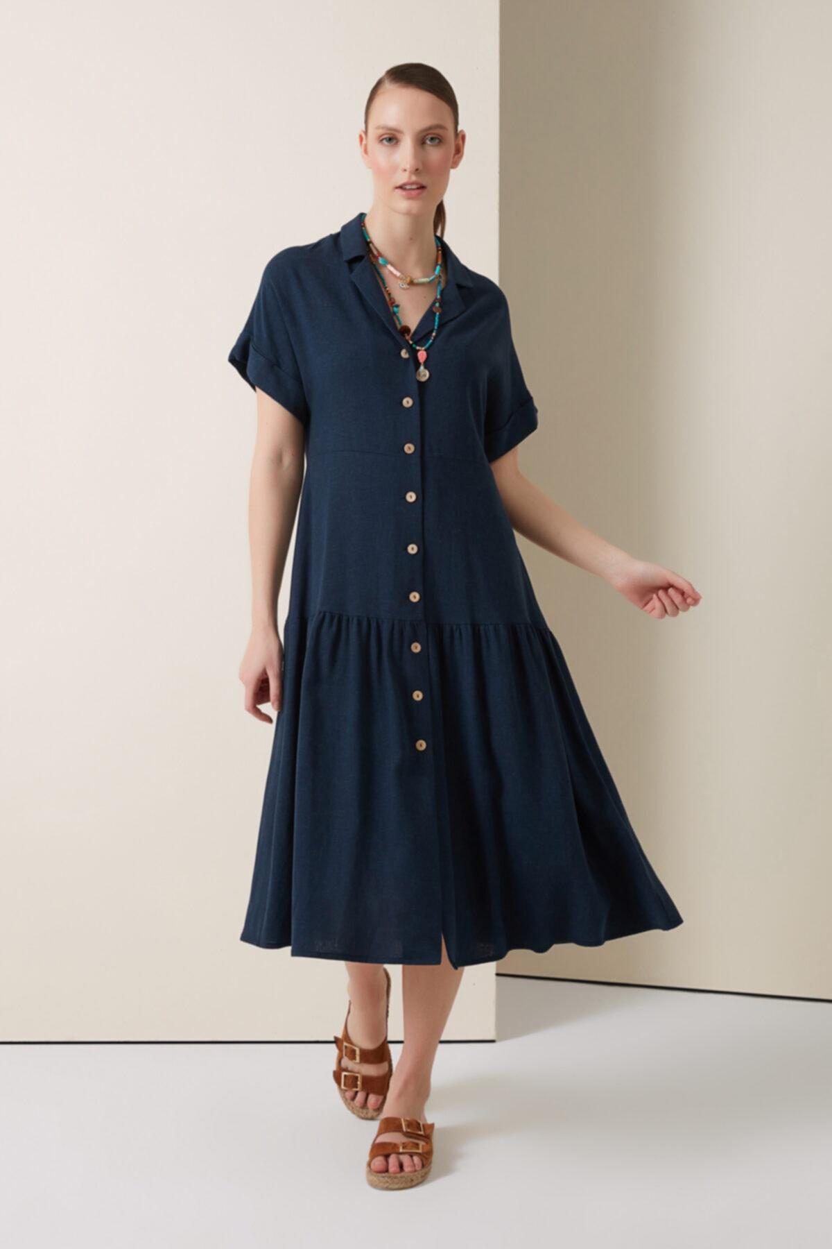 Keten Gömlek Elbise - Lacivert
