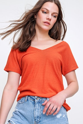 Trend Alaçatı Stili Kadın Mercan Arka Ön V Yaka Merserize Fitilli Bluz ALC-019-029-001 1