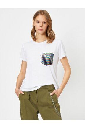 Koton Kadın Ekru Pul Detayli T-Shirt 0YAK13834EK 1