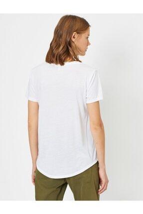 Koton Kadın Ekru Pul Detayli T-Shirt 0YAK13834EK 3