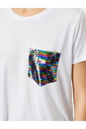 Koton Kadın Ekru Pul Detayli T-Shirt 0YAK13834EK 4