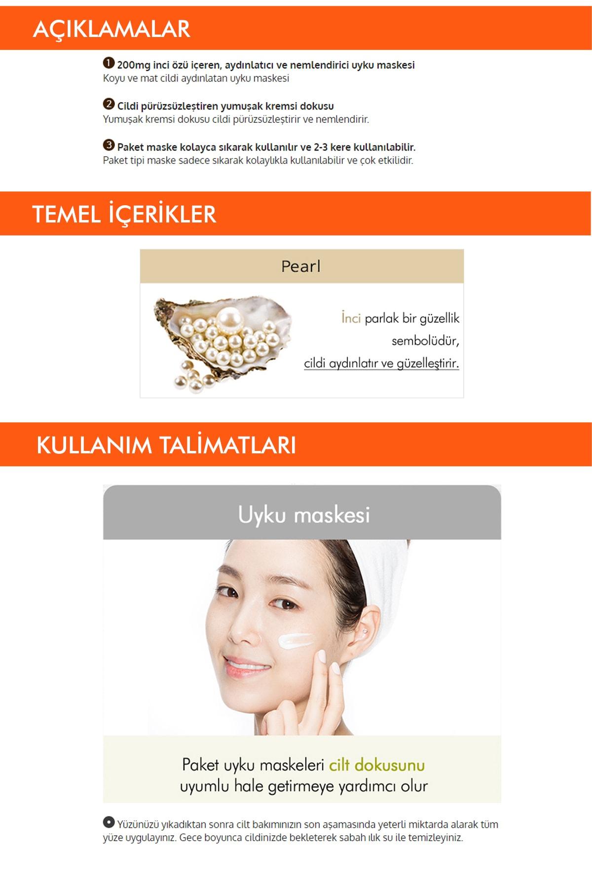 Missha İnci Özlü Aydınlatıcı Uyku Maskesi 10ml Pure Source Pocket Pack (Pearl) 1