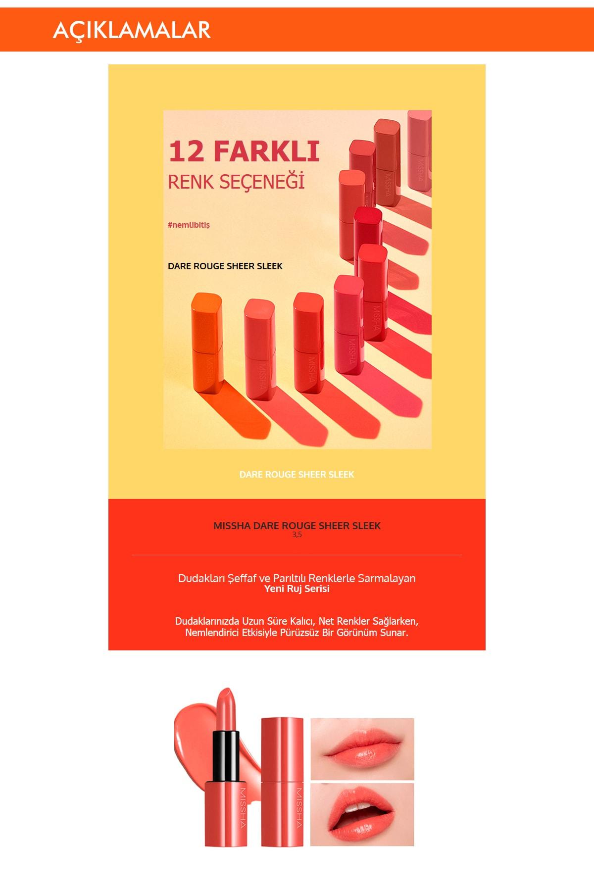 Missha Yoğun Pigmentli Besleyici Nemli Bitişli Ruj  Dare Rouge Sheer Sleek(07 Pumpkin Melon) 1
