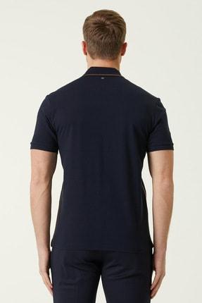 Network Erkek Slim Fit Lacivert Polo Yaka Şeritli T-shirt 1078381 2