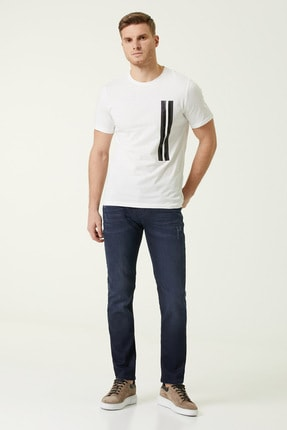 Network Erkek Slim Fit Beyaz Şerit Baskılı T-shirt 1078373 1