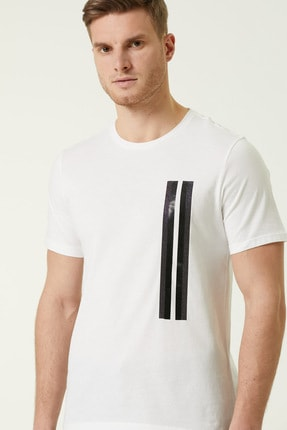 Network Erkek Slim Fit Beyaz Şerit Baskılı T-shirt 1078373 2