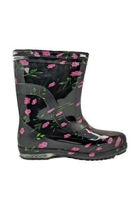 fafatara Kadın Mor Renk Çiçekli Iş Bahçe Yağmur Çizmesi 0