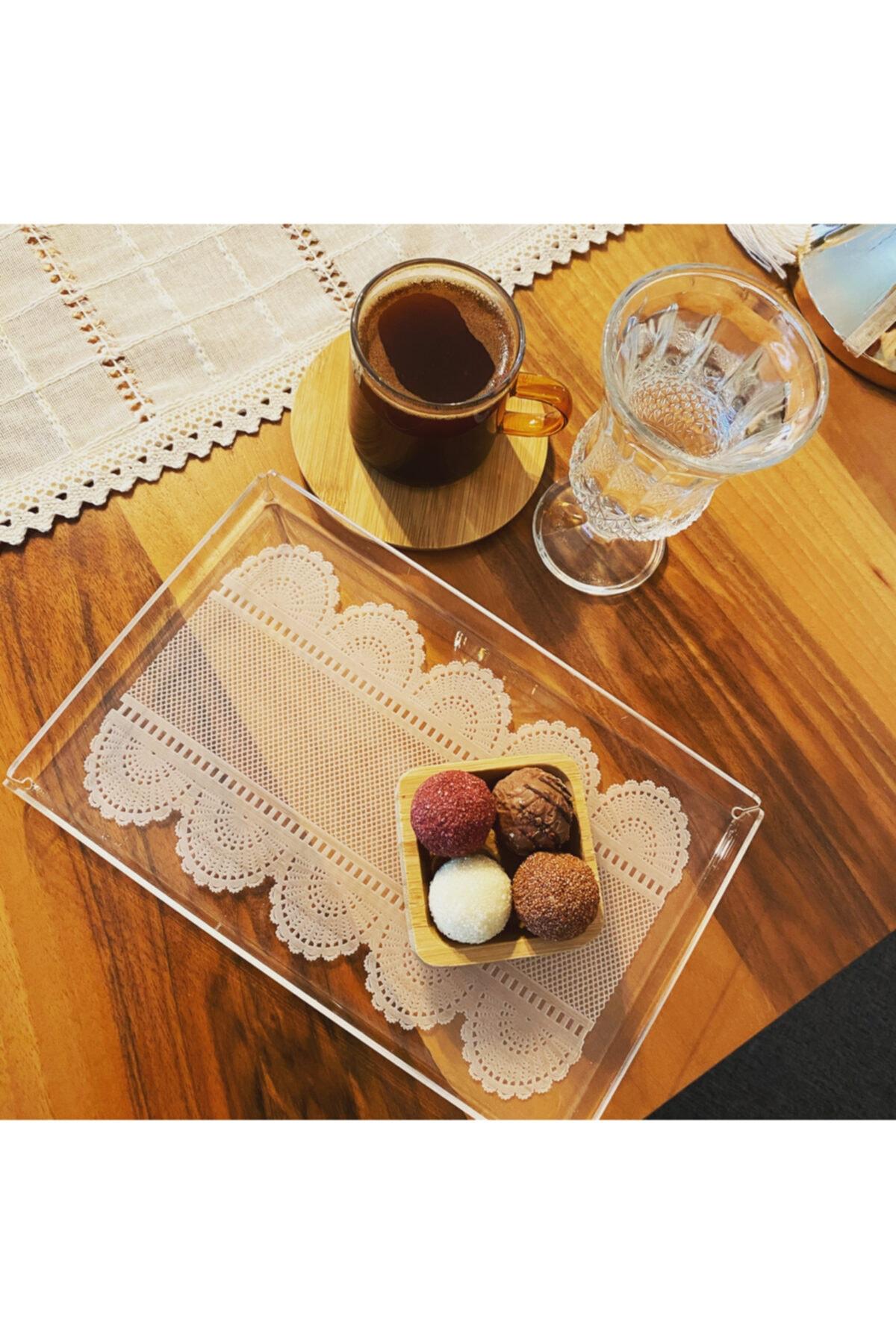 2 Li Set Dantel Desen Tek Kişilik Kahve Sunum Tepsi 14x22 Cm