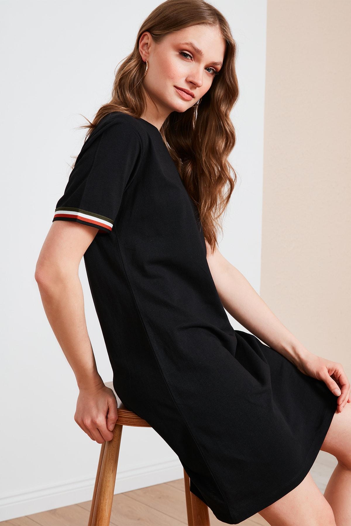 Kadın Siyah Bisiklet Yaka % 100 Pamuk Mini T Shirt Elbise 6010017