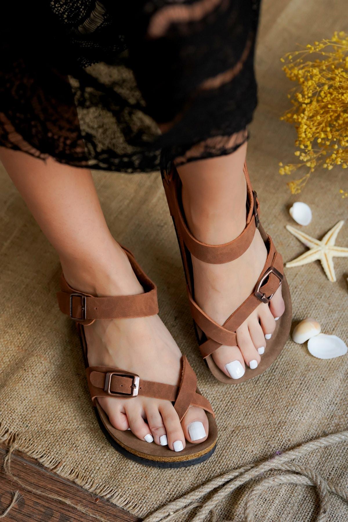 Kadın Taba Nubuk Parmak Arası Sandalet