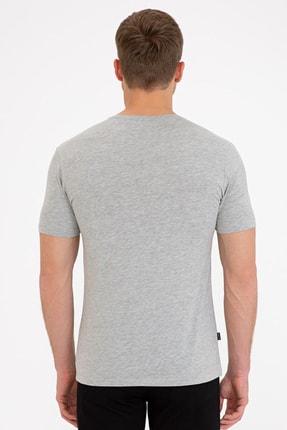Pierre Cardin Açık Gri Melanj Slim Fit Bisiklet Yaka Basic T-Shirt 2