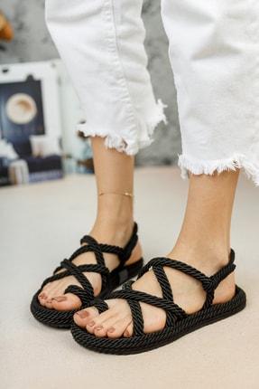 meyra'nın ayakkabıları Halat Sandalet Siyah 1