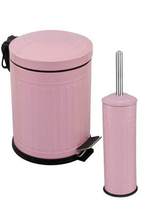 Foreca Vintage 2 Li Çöp Kovası Banyo Seti Çizgili Pembe 0