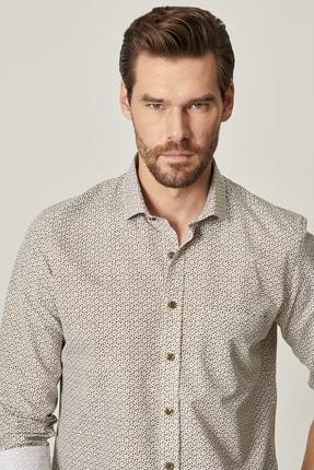 Altınyıldız Classics Erkek Haki Tailored Slim Fit Dar Kesim Küçük Italyan Yaka Baskılı Gömlek 4