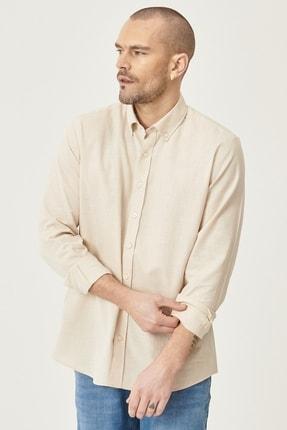 Altınyıldız Classics Erkek Bej Tailored Slim Fit Dar Kesim Düğmeli Yaka %100 Koton Gömlek 1