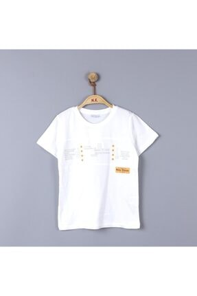 NK Erkek Çocuk Beyaz Turuncu Steps Tshirt 3