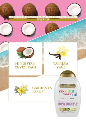OGX Yıpranma Karşıtı Coconut Miracle Oil Sülfatsız Şampuan 385 ml x2 1
