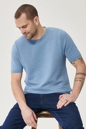 Altınyıldız Classics Erkek Mavi 360 Derece Her Yöne Esneyen Slim Fit %100 Koton Triko Tişört 4