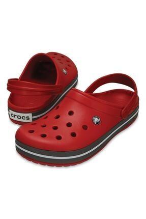 Crocs Kırmızı Unisex Crocband Kenarı Siyah Çizgili Terlik 2