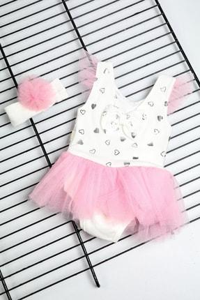 Bebe Türk Kız Bebek Pembe Fiyonklu Kalpli Tütülü Elbise 0