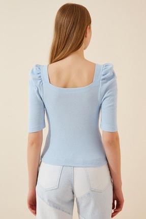 Happiness İst. Kadın Gök Mavi Kare  Yaka Fitilli Crop Bluz GT00007 2