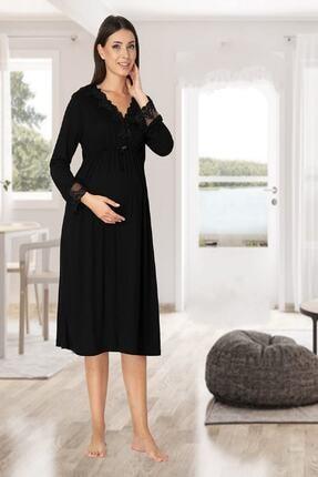 Effort Pijama Zerre Bebe Kadın Siyah Uzun Kollu Pijama Takımı Gecelik Sabahlık Lohusa Hamile 4'lü Set 1