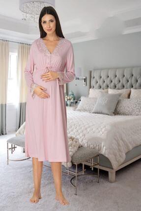 Effort Pijama Zerre Bebe Kadın Pembe Uzun Kollu Pijama Takımı Gecelik Sabahlık Lohusa Hamile 4'lü Set 1