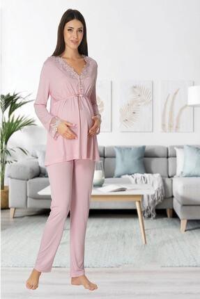 Effort Pijama Zerre Bebe Kadın Pembe Uzun Kollu Pijama Takımı Gecelik Sabahlık Lohusa Hamile 4'lü Set 2