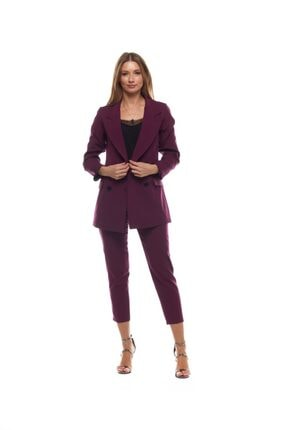 Kadın Mürdüm Düğme Detaylı Blazer Ceket CKT11001